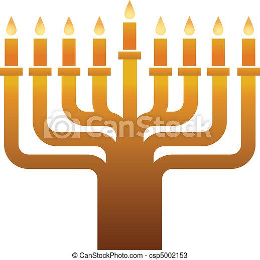 Colden Hanukkah menorah  - csp5002153