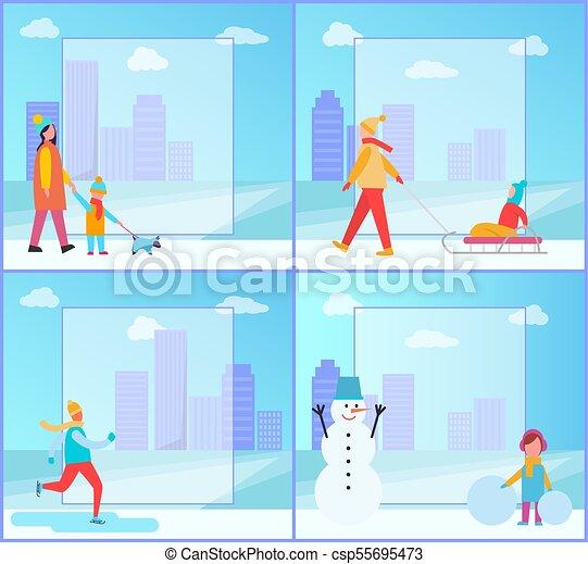 colección, actividades, vector, invierno, ilustración - csp55695473