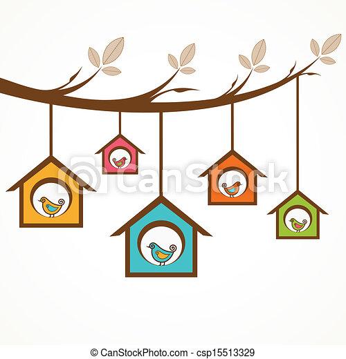 Colección de aves divertidas en la alimentación - csp15513329