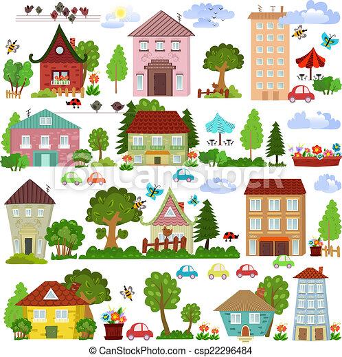 Coleccionar una casa de dibujos animados y árboles para tu diseño - csp22296484