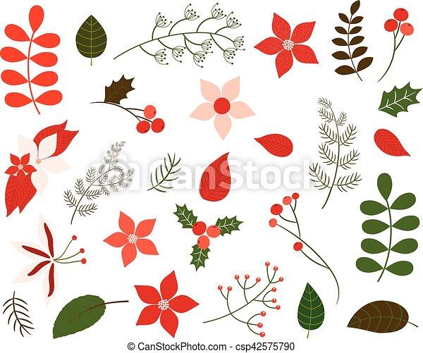 Colección, colores, follaje verde, navidad, rojo. Elementos ...