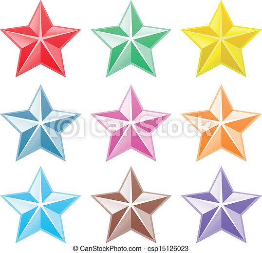Colección de estrellas coloridas - csp15126023