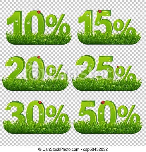 Los porcentajes verdes se acumulan con pasto transparente - csp58432032