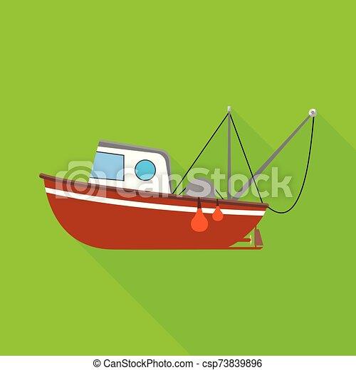 colección, icono, arrastrero, stock., pesquería, logo., naval, objeto, vector, aislado - csp73839896