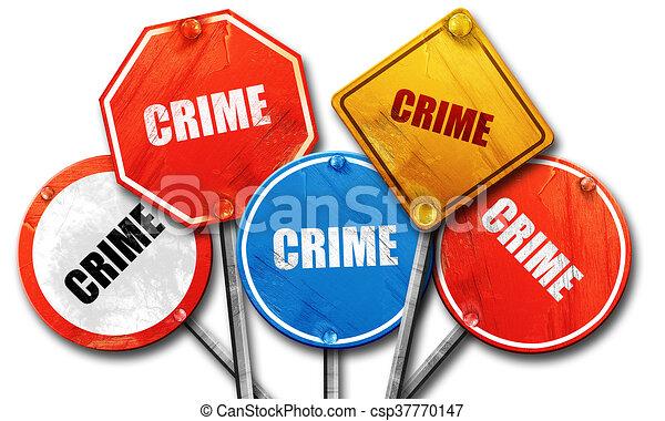 Crimen, representación en 3D, dura colección de letreros de la calle - csp37770147