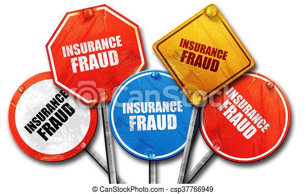 Fraude de seguros, representación en 3D, dura colección de letreros de la calle - csp37766949