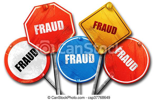 Fraude, representación 3D, dura colección de letreros de la calle - csp37768649