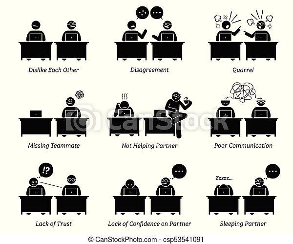 colega, sócios, negócio, trabalhando, escritório., junto, local trabalho, inefficiently - csp53541091