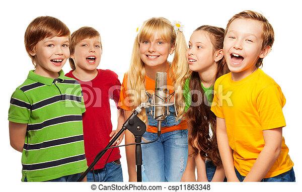 colegas, cantando, junto - csp11863348