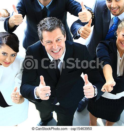 colegas, negócio, tampe cima, sinal, polegares, equipe, feliz, gesticule, vista - csp15463950