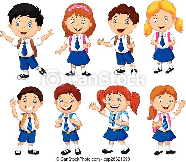 aebaa465c71 Colegiales, caricatura. Escuela, vector, caricatura, ilustración, niños.