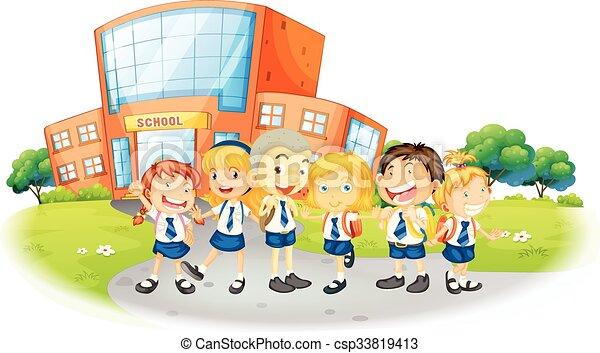 Niños en uniforme escolar en la escuela - csp33819413