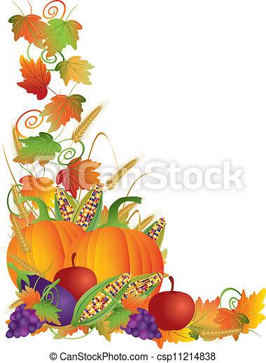 colheita, ação graças, ilustração, videiras, outono, borda - csp11214838