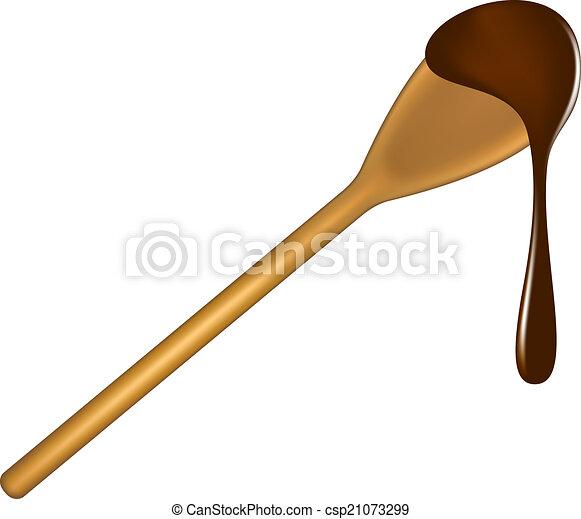 colher madeira, chocolate - csp21073299