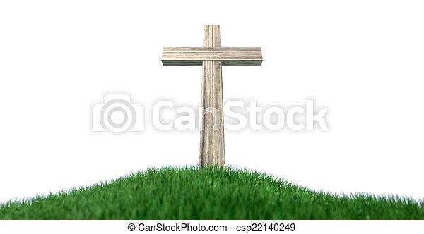 colina, crucifijo, herboso, aislado - csp22140249
