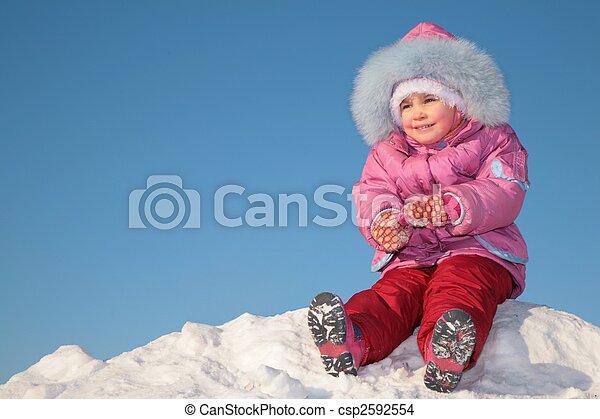 colina, niño, 2, nieve, sentarse - csp2592554
