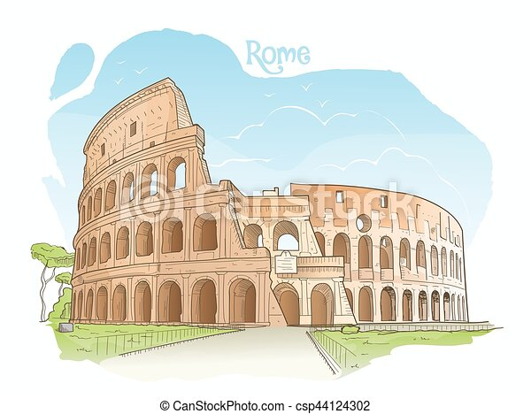 Coliseo Italy Roma Illustration Vector Italia Coloreado