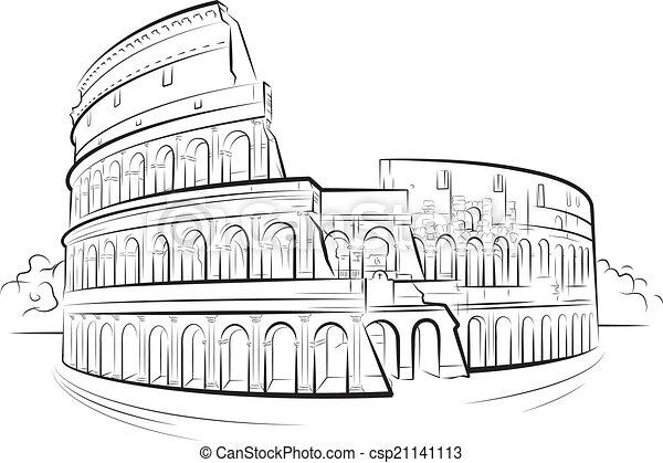 Coliseo Roma Italia Dibujo Italy Roma Ilustración Coliseo