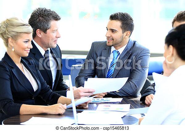 collègues, business, séance, jeune, sourire, réunion, homme - csp15465813
