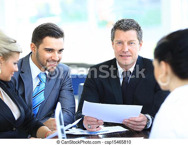 collègues, business, séance, mûrir, sourire, réunion, homme - csp15465810