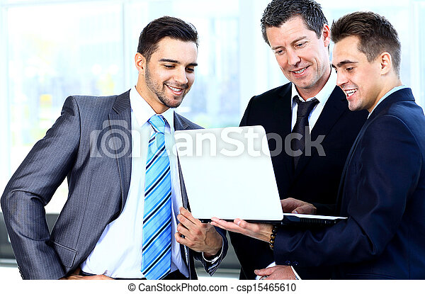 collègues, sien, réunion affaires, travail, -, directeur, discuter - csp15465610