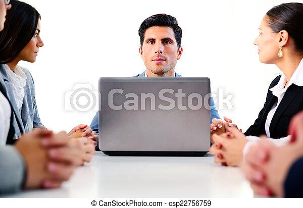collègues, sien, réunion affaires, travail, -, directeur, discuter - csp22756759