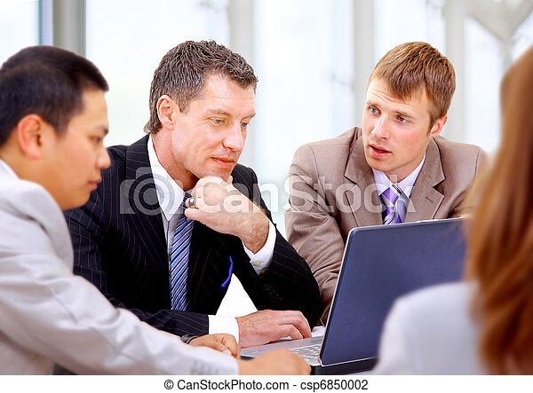 collègues, sien, réunion affaires, travail, -, directeur, discuter - csp6850002