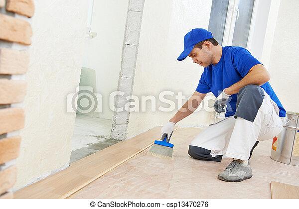 colla, aggiungere, parquet, lavoratore, pavimento - csp13470276