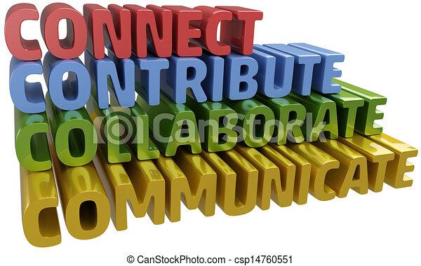 collaborare, comunicare, collegare, contribuire - csp14760551