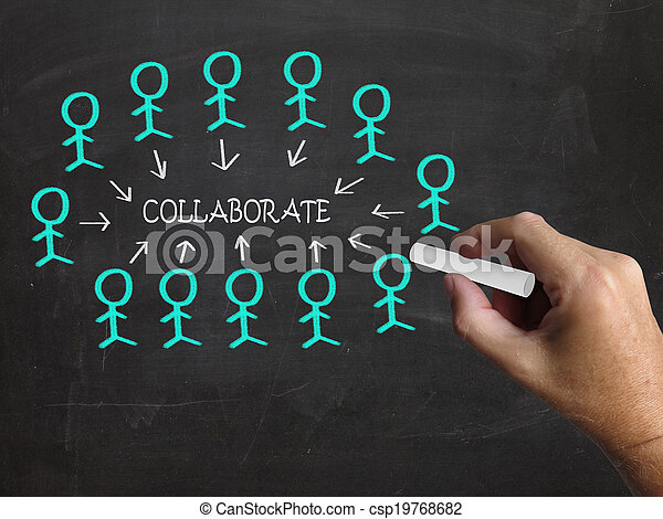 Collaborate On Blackboard Meaning Business Teamwork Partnership Or Collaboration - csp19768682