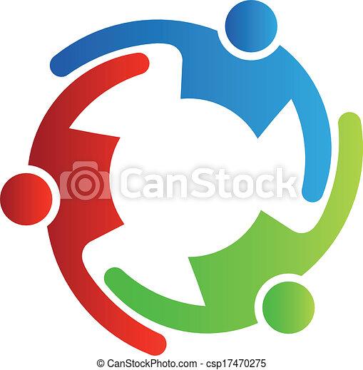 collaboration, 3, vecteur, embrasser - csp17470275