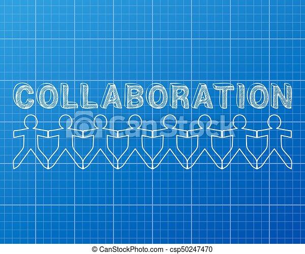 Collaboration people blueprint collaboration hand drawn text and collaboration people blueprint csp50247470 malvernweather Images