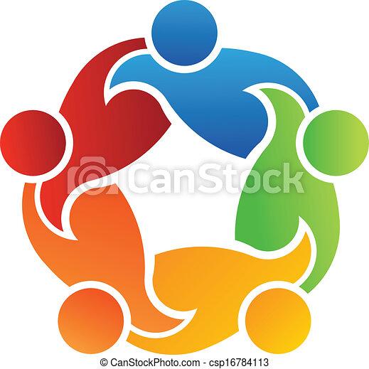 collaboration, soutien, 5, logo - csp16784113