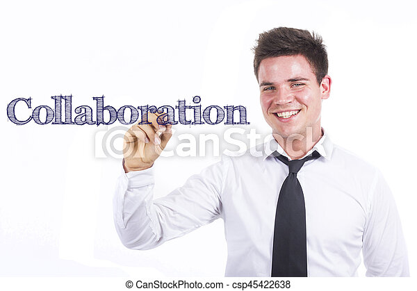 Collaboration - Young smiling businessman writing on transparent surface - csp45422638