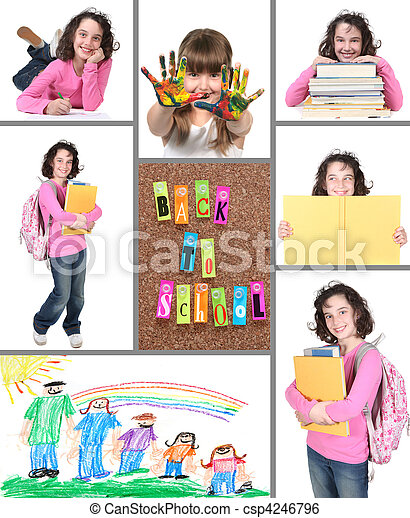 collage, école, dos, coloré - csp4246796