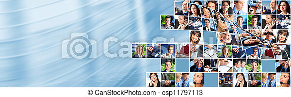 collage., 人 事務, 隊 - csp11797113