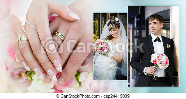 Collage - a portrait of the groom and the bride with a wedding bouquet and hands with rings close up - csp24413039