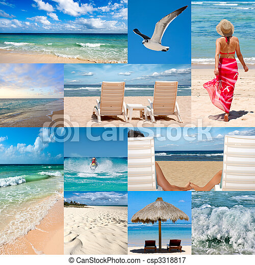 Collage about beach vacations - csp3318817
