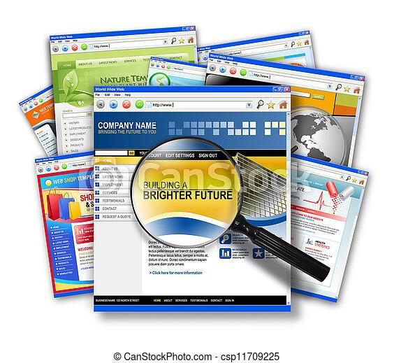 collage, búsqueda telaraña, sitio, internet - csp11709225