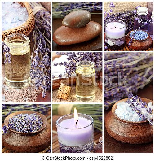 collage, balneario, lavanda - csp4523882