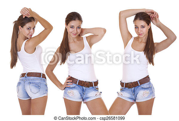 Teen girls in denim shorts talk this