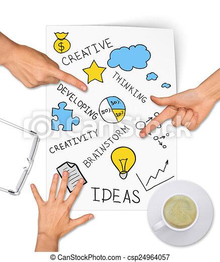 Collage zum ausdruck von konzept der kreativen ideen. Collage zum ausdruck  von kreativen ideen, auf weißem hintergrund. | CanStock