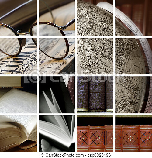collage, biblioteca - csp0328436