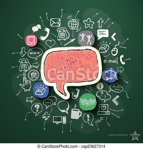 collage, bord, sociaal, netwerk, iconen - csp23627314