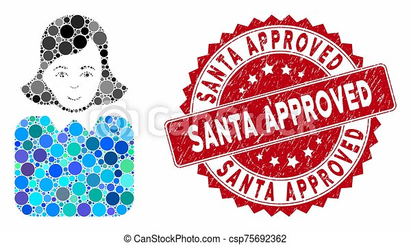 Collage Bureaucrat Woman with Distress Santa Approved Stamp - csp75692362