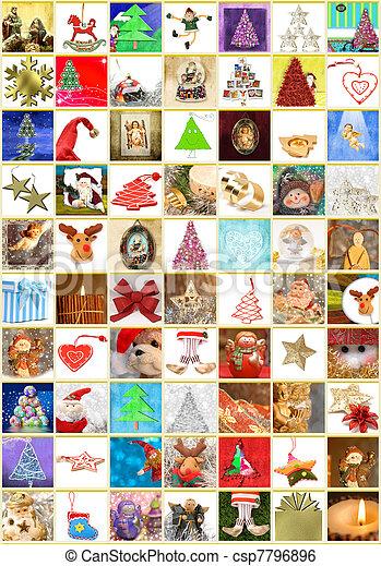 collage, cartoline auguri, verticale, natale - csp7796896