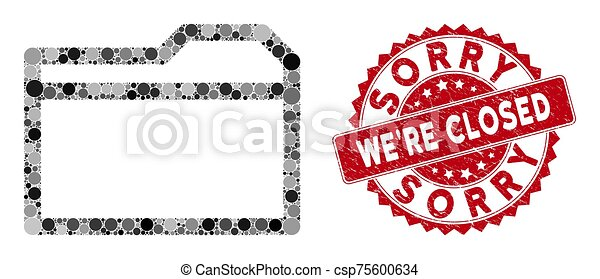 Collage Closed Folder with Scratched Sorry We'Re Closed Stamp - csp75600634