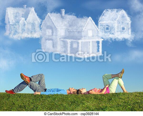 collage, coppia, tre, case, dire bugie, erba, sogno, nuvola - csp3928144