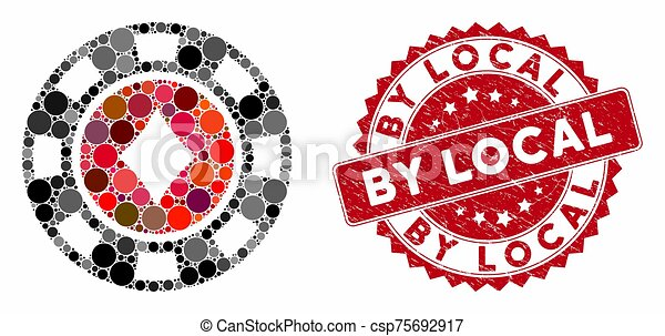 Collage Diamonds Casino Chip with Textured By Local Seal - csp75692917