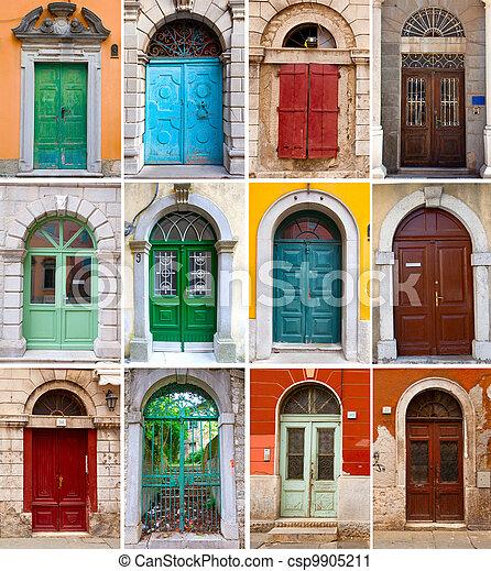 Hogares Collage Foto Casas Puertas Frente Colorido